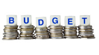 Stacks of coins with the word BUDGET isolated on white background